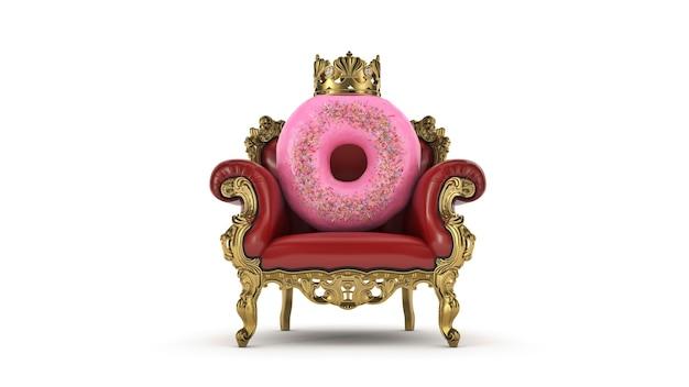 Heerlijke koning donut 3d-rendering