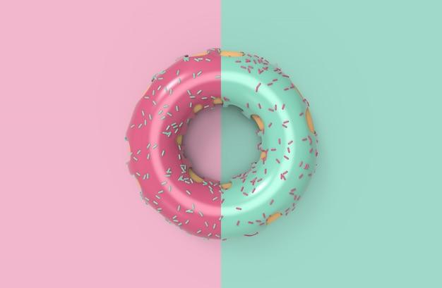 Heerlijke lekkere roze en groene mint geglazuurde topping donuts duo set