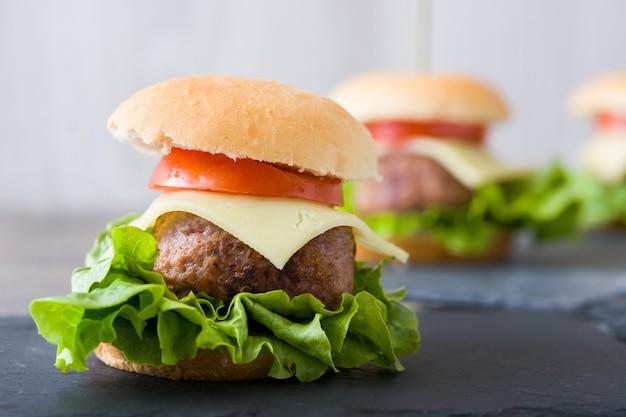 Heerlijke mini kaas hamburger met groenten kopie ruimte