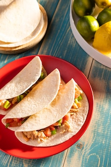 Heerlijke taco's op plaat