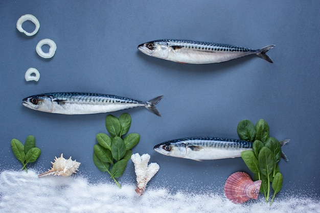 Heerlijke verse vis op blauwe achtergrond. vis met aromatische kruiden, ui, vis in water zwemconcept
