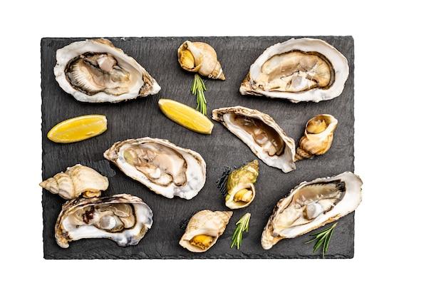 Heerlijke zeevruchtenreeks oesters en slakken op zwarte die tablet op witte oppervlakte wordt geïsoleerd