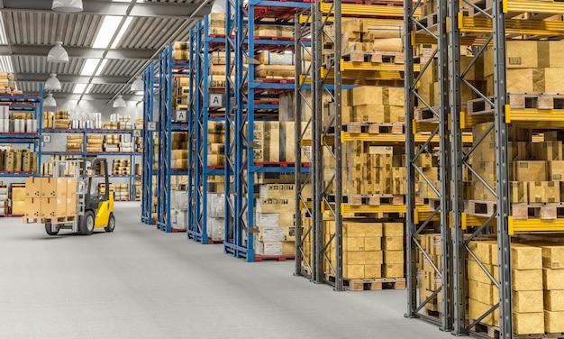 Heftruck aan het werk in een groot magazijn