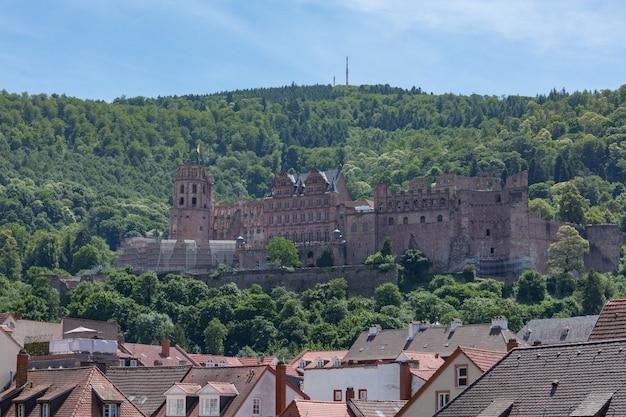 Heidelberg castle is een gedeeltelijk verwoest middeleeuws kasteel van duitsland