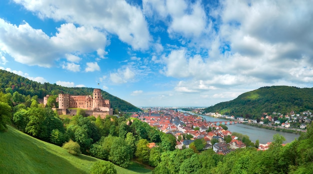 Heidelberg-stad in duitsland en ruïnes van het kasteel van heidelberg in de lente