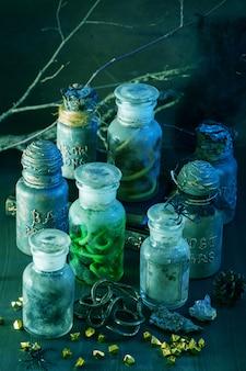 Heks apothekerspotten toverdrankjes halloween decoratie