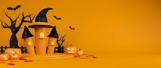 Heks kasteel vleermuizen oma pompoenen en gedroogde boom op gele achtergrond halloween concept 3d-rendering
