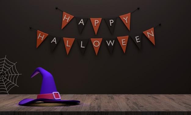 Heksenhoed op de houten vloer en er is een vlagachtergrond alsof je je voorbereidt op een halloween-feest