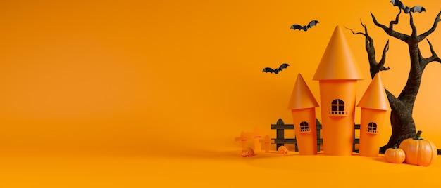 Heksenkasteel en gedroogde boom op gele achtergrond halloween concept 3d-rendering 3d illustratie