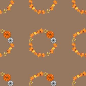 Helder beeld met de afbeelding van geschilderde pompoen naadloze patroon. close-up, weergave van bovenaf, geen mensen. aquarel verf. concept van heerlijk en gezond eten