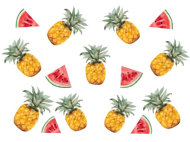 Helder beeld met de afbeelding van geschilderde vruchten