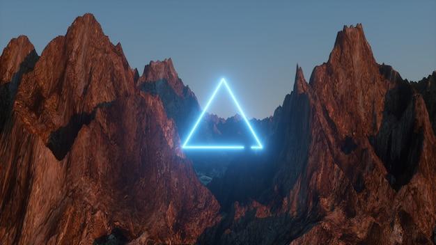 Helder blauwe neon driehoek tussen de bergen