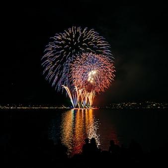 Helder gekleurd vuurwerk in donkere nachtelijke hemel boven het water