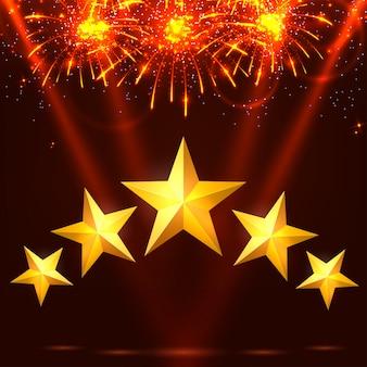 Helder kleurrijk vuurwerk, stralen en sterren op een rode achtergrond