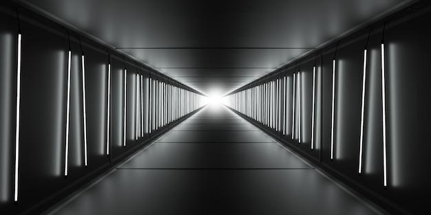 Helder licht aan het einde van de lange donkere tunnel met lampbuizen op muren. 3d illustratie.