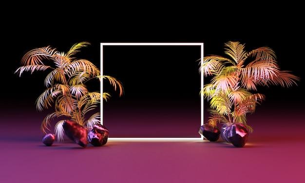 Helder licht gloed van geometrische vormen met tropische bladeren 3d-rendering