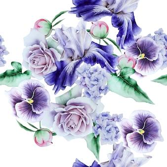 Helder naadloos patroon met bloemen. aquarel illustratie. hand getekend.