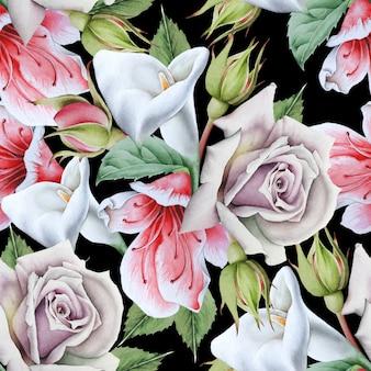 Helder naadloos patroon met bloemen. calla. roos. aquarel illustratie. hand getekend.