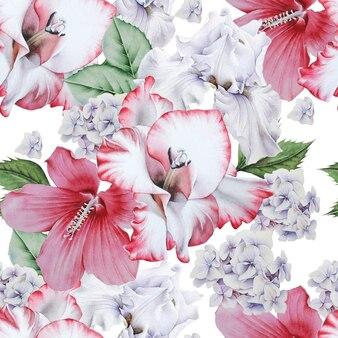 Helder naadloos patroon met bloemen. hibiscus. iris. gladiolen. aquarel illustratie. hand getekend.