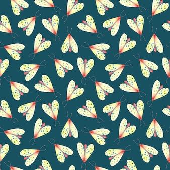 Helder nachtvlinder naadloos patroon op donkere smaragdgroene achtergrond vliegende insecten herhaal print