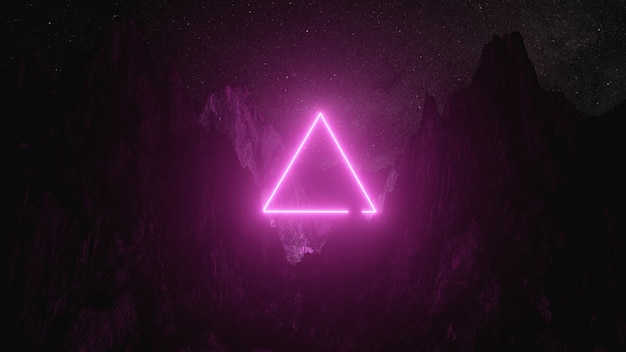 Helder roze neon driehoek tussen de bergen