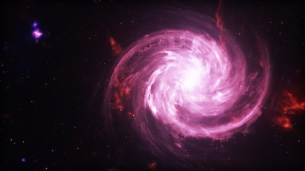 Helder sterrenstelsel. abstracte sterren op zwarte achtergrond. fractal van de fantasie textuur in rode, roze en lichtpaarse kleuren. digitale kunst. 3d-afbeelding