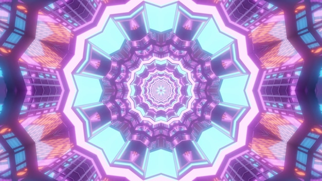 Helder veelkleurige 3d illustratie abstracte visuele achtergrond met symmetrisch caleidoscopisch ontwerp met geometrisch patroon