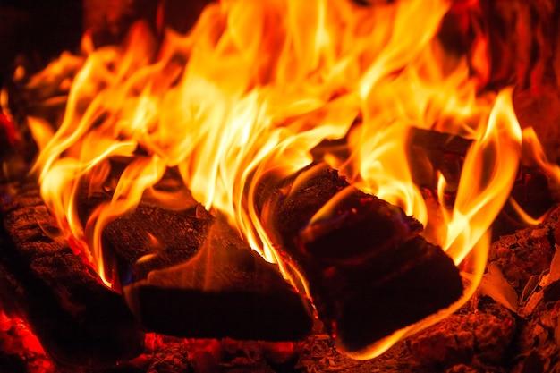 Helder vuur in de open haard, op de voorgrond verbrand brandhout