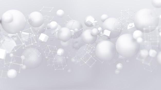 Helder witte achtergrond met ballonnen. 3d-afbeelding, 3d-rendering.