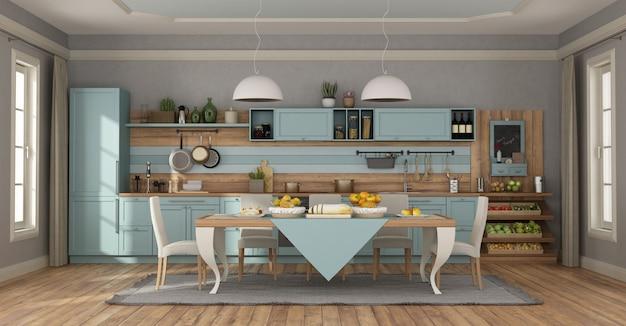 Helderblauwe klassieke keuken