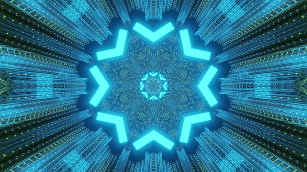Heldere abstracte visuele futuristische tech achtergrond via tunnel perspectief met glanzende neon driehoeken vormen stervormig frame met lichtreflecties