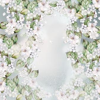 Heldere aquarel kerstkaart met sneeuwbes, bladeren en bloemen.