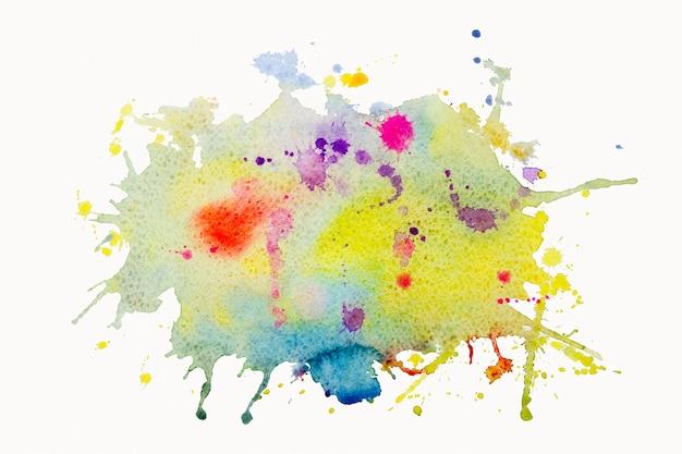 Heldere aquarel verf geel roze blauw penseel inkt, spatten slag vlek drop.