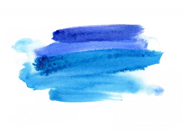 Heldere blauwe waterverfvlek op witte achtergrond