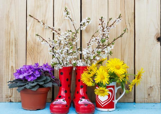 Heldere bloemen in potten, rode rubberen laarzen op een houten achtergrond. lentebloem stilleven. valentijnsdag