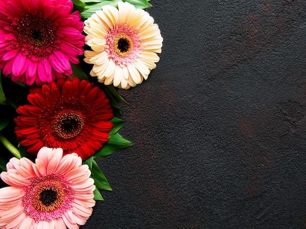 Heldere gerberabloemen op een zwarte betonnen tafel. frame van bloemen, bovenaanzicht