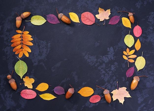 Heldere herfstbladeren en eikels op een zwarte steen