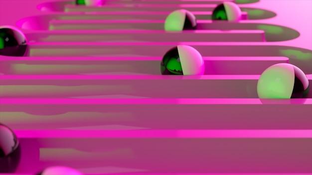 Heldere kleurrijke achtergrond met rollende ballen langs de paden. kunststof bal rollen in geometrie verdieping. 3d illustratie