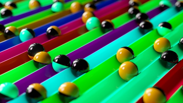 Heldere kleurrijke achtergrond met rollende ballen langs de paden. minimalisme en mode concept. 3d illustratie