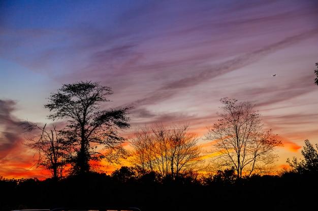 Heldere kleurrijke zonsondergang op de zee met prachtige wolken