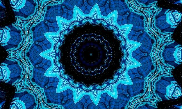 Heldere koude cyaan zon middelpunt tekening vorm kunst design. grote vage magische bolvorm in moderne kunstenaar. marine aqua kleur bonte power boom bal symbool op donkere fond. diepzee caleidoscoop.