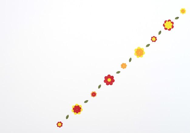 Heldere rode, gele, oranje papieren bloemen op een witte achtergrond. lente, zomer concept. platliggende stijl met kopieerruimte. papierkunst