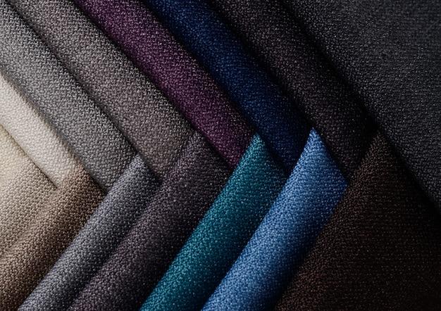 Heldere verzameling monsters van jute-textiel. stof textuur achtergrond.