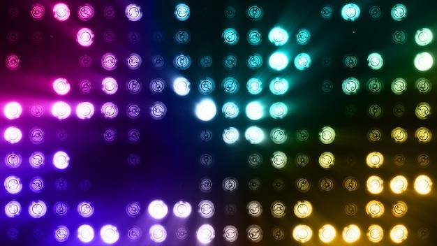 Heldere vloedlichten die abstracte kleurrijke achtergrond opvlammen