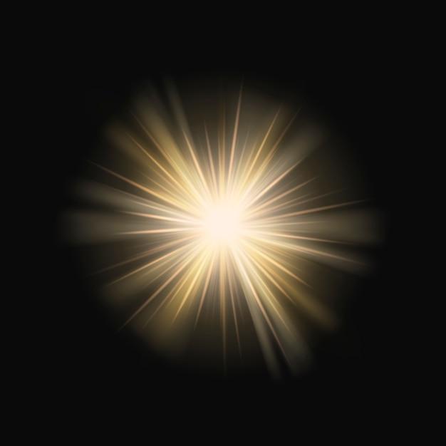 Heldergele zonnestraal lensflare