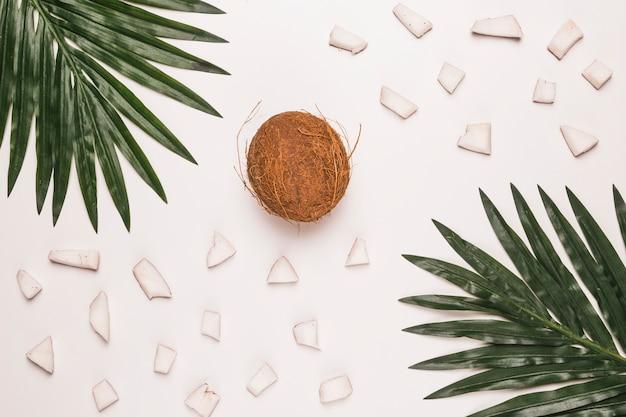 Hele en gehakte kokosnoot met palmbladeren