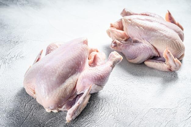 Hele rauwe vrije uitloop kip op wit. bovenaanzicht