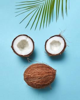 Helften en hele tropische noot met palmblad in de vorm van een gezicht op een blauw oppervlak met ruimte voor tekst. plat leggen