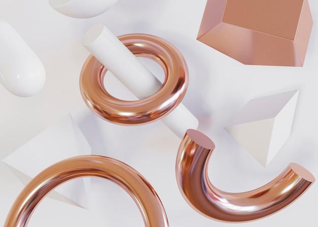 Helften van ringen en geometrische vormenachtergrond