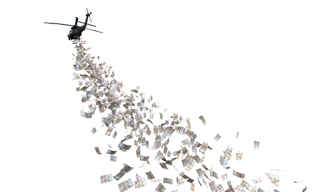 Helikopter die geld verdeelt dat op wit wordt geïsoleerd.